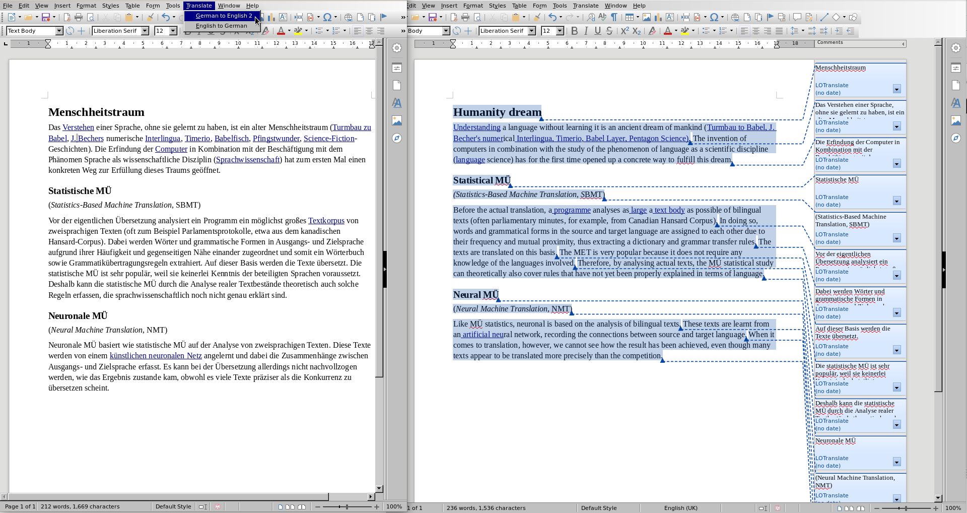 LibreOffice Translate in Action